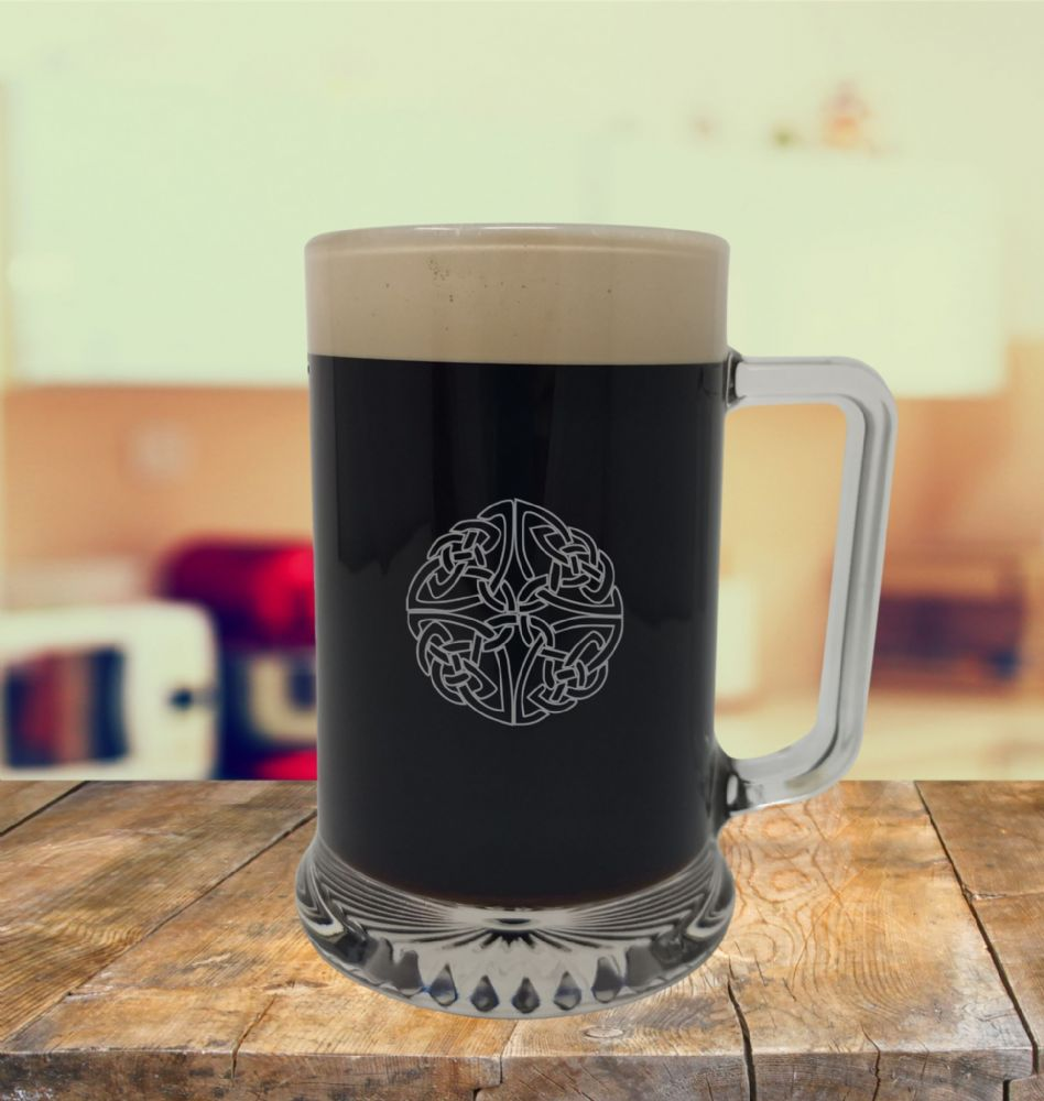 Glass Tankard With Celtic 3 Design, Engraved